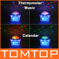 Best gift Music Starry Star Sky Projection Alarm Clock Calendar Thermometer,freeshipping,dropshipping