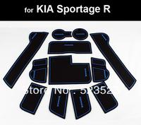 Free Ship For  KIA Sportage R 2010 11 12 Silicon Non-Slip Interior Door Mat Cup Mat 12pcs- Blue & Black