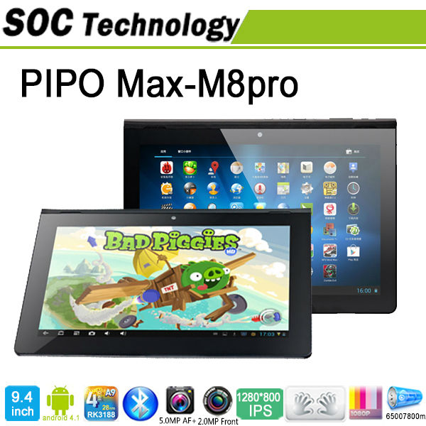 "New Quad Core RK3188 Andriod 4.2 Tablet 9.4"" PIPO M8 Pro WIFI Bluetooth 3G HDMI Dual cameras 2.0/5.0MP IPS 1280*800 px Tablet PC(China (Mainland))"