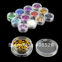 12 Color Nail Art Glitter Short Flash Powder Polish Builder Decoration free shipping 8251
