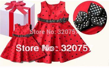 Retail 2015 Princess cute sleeveless dresses summer girls  Red Black Heart dresses Fashion beautiful dress