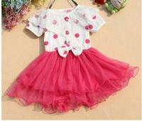 1 pcs retail 2014 new girl summer dress children dot princess lace dresses 3 colors high quality A69