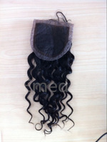 Free Shipping deep wave4x4 inch cheap silk base closure brazilian hair lace top closure bleached knots