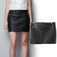 Free Shipping 2014 Summer & Autumn PU Leather Women Skirts Diamond Double Zippers Embossing Leather Pencil Skirts S-L