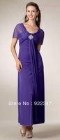 Free Shipping Fashion club dresses new fashion 2013 Scoop Neck Long Semi Formal Purple Chiffon Dress Ankle Length