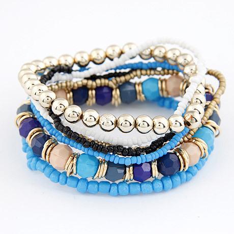 Korean Designer Fashion Bohemia Beads Beeaded Multi Strand Stretch Bracelet(China (Mainland))