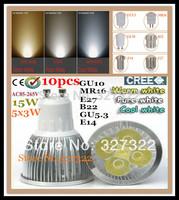 Free shipping 10 pcs Dimmable Cree GU10 E27 MR16 E14 GU5.3 B22 15W 12W 9W LED Spotlight Downlight Bulb lamp led light lighting