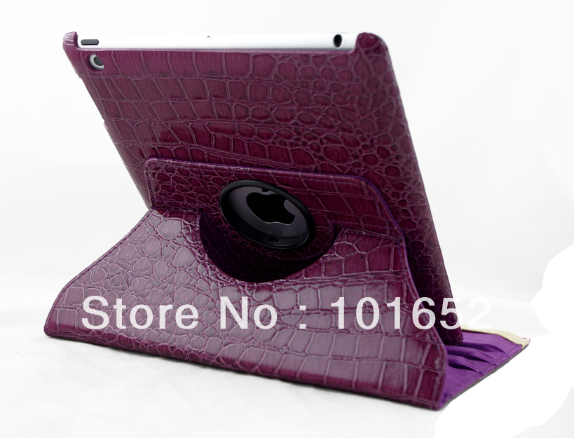 crocodile pattern 360 degrees rotating case for ipad 2 3 4 Stand Magnetic Smart Cover 20% off Free Shipping IPC-20(China (Mainland))