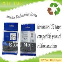 "Cheap tape for p touch label printer,9mm*8m 3/8"" black on white, 9mm label tape TZ 221 tze-221"
