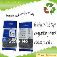 "Cheap tape for p touch label printer,9mm*8m 3/8"" black on white, 9mm label tape TZ 221 tze-221"