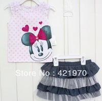 2013 New arrive Baby Girls Minnie mouse t-shirt + skirts 2pcs suits