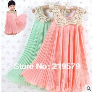 1piece free shipping 2014 summer Girls chiffon dress with   Paillette Collar ,pink /Green