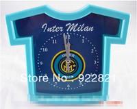 Free shipping football fan T-shirt shaped alarm clock with Inter Mian  logo ,Inter Milan Football fans souvenirs