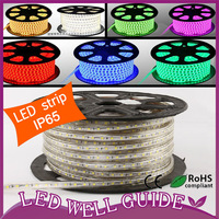 Wholesale 5050 LED strip 220V /IP65 Waterproof flexible SMD led strip 60leds/M 300leds/100M+ Plug Free shipping DHL/FEDEX