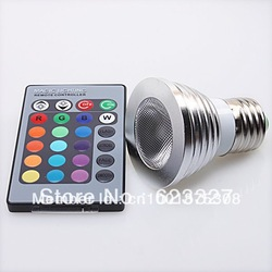 5W E27 16 Color Change RGB LED Light Bulb Lamp 85-265V+IR Remote Control(China (Mainland))