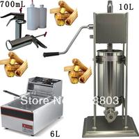 3 in 1 10L Spainish Churro Presser+ 6L Deep Fryer + 700ml Churros Filling Machine