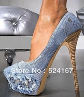 New design fashion popular sexy jean high heels plateform with flower  super quality high heel shoes