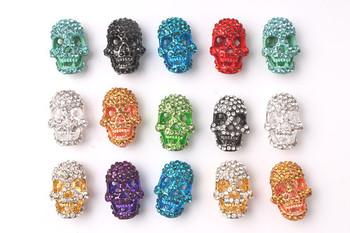 20pcs crystal silver skull Pave Head Disco Rhinestone bead making bracelet