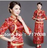 Red twinset long design married cheongsam chinese style fashion flare sleeve evening dress the bride cheongsam set