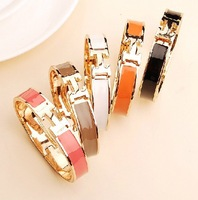 H letters buckles rose gold  bangle bracelet free shipping
