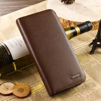 Hot sell Male medium-long check zipper wallet cowhide long wallet design Men clutch  Free shipping