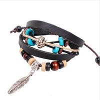 2014 New Multilayer Wrap Genuine Leather Bracelets Bangles Strand Beads Charms Bracelets Women Bracelets Gifts Leaf Drops Black
