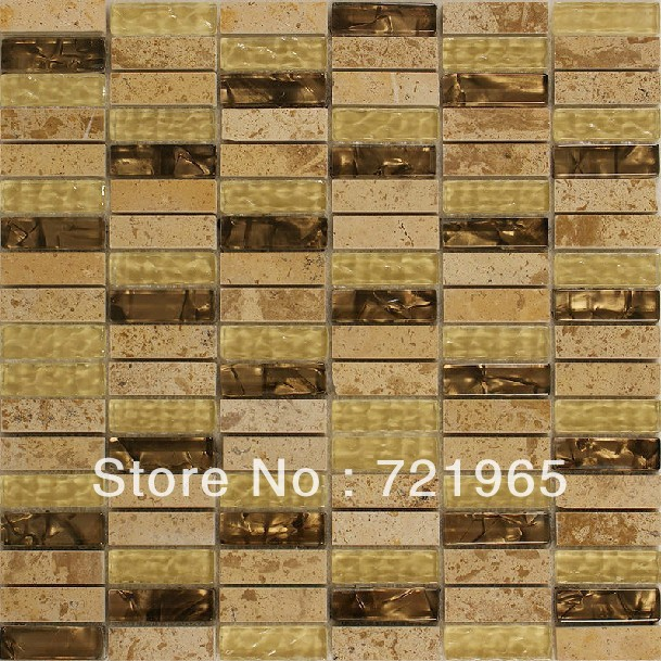 Design decor glass mosaic kitchen backsplash wall tiles SGMT038 stone glass mosaic backsplash tiles polished glass stone mosaic(China (Mainland))