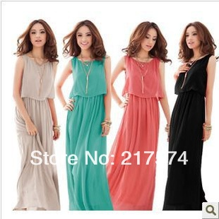 2013 Hot  Bohenmia  Maxi Long Dress Princess Pleated Wave Lace Strap Long Chiffon Dress In Stock Free Shipping Four Colors