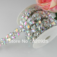 1yds Crystal AB Rhinestone Sew On Trims Costume Silver Sewing Trimming