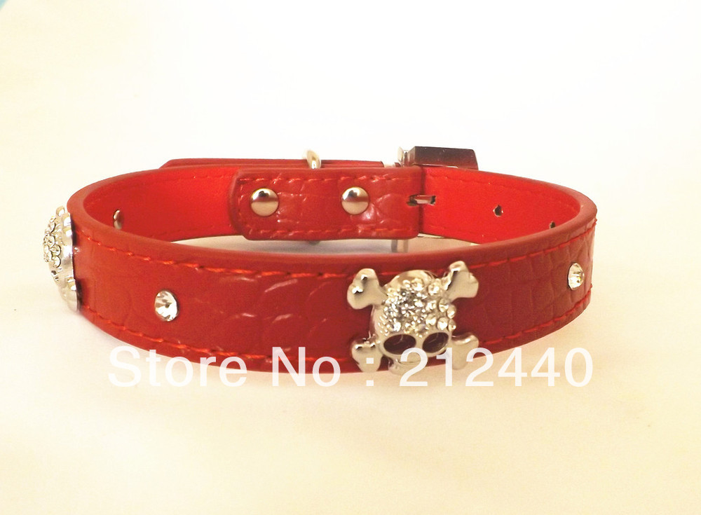 Free shipping 20 pcs/lot S M Red Large Dog Skull Rhinestone Crystal Collar with Designes #1905(China (Mainland))