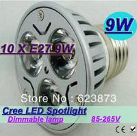New arrive high power super energy-saving CREE E27 9W 3*3W  85V-265V Led Light Lamp Led Spotlight Dwonlight bulb 10pcs