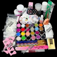 Free Shipping Full 25 Nail Art Acrylic Powder Primer Glitte Liquid TIP Brush Glue Dust KITS,HB-NailArt01-13set