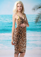 2013 New Arrival Leopard Beach Dress Skirt With Shoulder-Straps Wrap Dress Swimwear Cover Up Women Outside SEXY BIKINI COVER