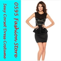 Free Shipping! Woman Black Sleeveless Ruffled Mesh Insert Front Rivets Adornment  Peplum Dresses HL2705-1