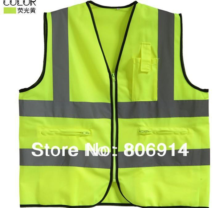 Free shipping fashion & top quality 3-pocket reflective safety vest light vest sanitation & traffic vest with zipper(China (Mainland))