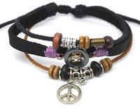 Fashion Hematite Peace Symbol Pendant Adjustable Genuine Cow Leather Bracelet For Women & Men Free Shipping 50 PCS/Lot  A0317