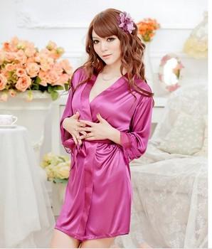 SEXY Lady Lingerie Sleepwear BATH ROBE Kimono Dress G-string panty Kit purple pink black white