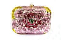 pink flower bag 2013,new clutch handbag women,women fashion luxury rhinestone handbag.free shipping