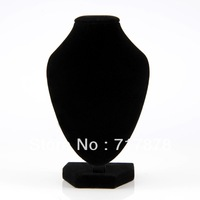5Pieces/Lot Free Shipping Black Velvet Necklace Pendant Chain Link Jewelry Bust Neck Display Holder Stand