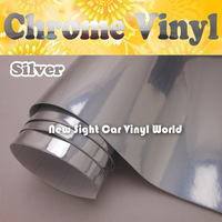 FedEx FREE SHIPPING High Gloss Silver Chrome Vinyl Film For Car Stickers With Air Bubble Free Size: 1.52*30M/Roll