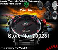 Free shipping+2014 New Luxury Weide Brand Women's/Men's Quartz Analog Watch,30M Waterproof Sports Swiss Military Army Wristwatch