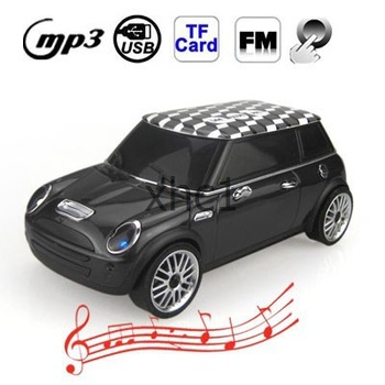 Free Shipping Music Car Style Mini Portalbe MP3 Bass Speaker Support Micro SD TF Card USB FM