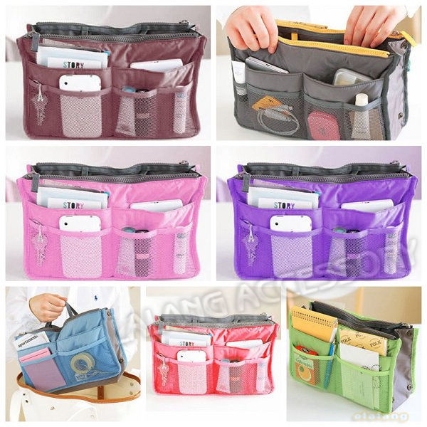 2pcs/lot Practical Travel Handbag Dual Organizer Nylon Cotton Cosmetic Storage Bags Home Use 7Colors Free Shipping 640198(China (Mainland))