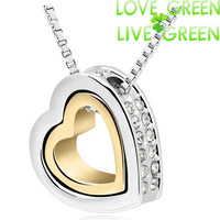 2014 Free Shipping Hotselling Promotion 18K White Gold Plated WHITE Austrian Crystal Heart Pendant Necklace fashion jewelry 117