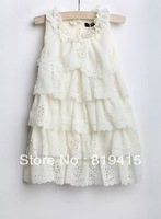Girl Flower Chiffon Layered Dress Sleeveless Dress Princess Dress Girl's Chiffon Hollow Out Flowers Dress Girl Cake Skirt