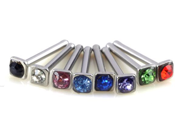 40pcs 316L stainless intermal threaded labret with crystal nose stud piercing jewelry Free Shipping(China (Mainland))