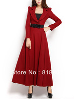 Spring suit V-neck puff sleeve princess elegant wool ultra long one-piece dress