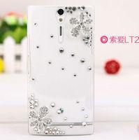 1pcs HK Post Free Shipping Luxury Diamond Handmade 3D Bling Crystal Case Cute Flower Hard Cover For Sony Ericsson Xperia S LT26i