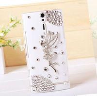 1pc HK Post Free shipping 100% Handmade Angel Gril diamond Bling Crystal case for Sony LT26i rhinestones wing Plastic Hard cover