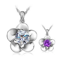Bright flowers small jewelry wholesale 925 sterling silver necklace Angel Heart Pendant Free